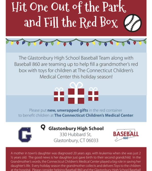 Baseball 860 teams up with the Glastonbury High School Baseball Team for the Holidays!